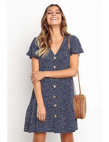 Kadın's Temel Çan Elbise Desen Diz üstü