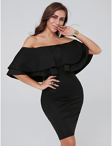 billige Formelle dresser-Tube / kolonne Løse skuldre Kort / mini Jersey Cocktailfest Kjole med Fallende drapering av TS Couture®
