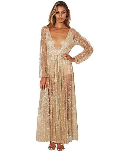 cheap Bridesmaid Dresses-A-Line Plunging Neck Ankle Length Lace Bridesmaid Dress with Sequin by LAN TING Express