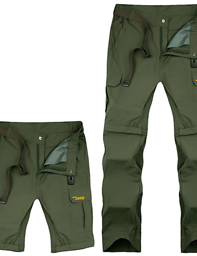 cheap Hiking Trousers & Shorts-Men's Hiking Pants Convertible Pants / Zip Off Pants Outdoor Windproof Quick Dry Autumn / Fall Spring Summer Pants / Trousers Bottoms Hiking Camping Black Army Green Khaki 4XL 5XL 6XL