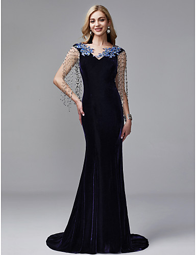 b777dfca1905 Mermaid / Trumpet V Neck Court Train Satin / Tulle / Velvet Vintage  Inspired Formal Evening Dress with Beading / Tassel by TS Couture®