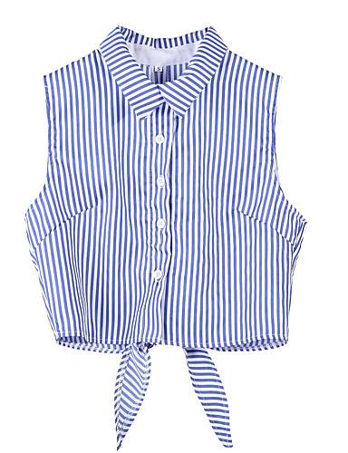abordables Hauts pour Femmes-Chemise Femme, Rayé - Coton Col de Chemise Mince Bleu
