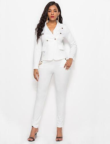 abordables Hauts pour Femmes-Femme Basique Coton Blazer - Couleur Pleine, Mosaïque Pantalon Col en V