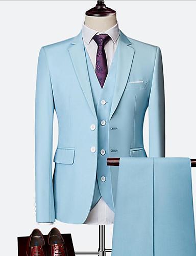 preiswerte Anzüge-Himmelblau / Rot / Königsblau Solide Schlanke Passform Nylon / Chinlon Anzug - Fallendes Revers Einreiher - 2 Knöpfe