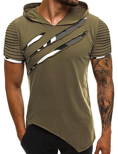 voordelige Heren T-shirts & tanktops-Heren Standaard / Street chic Patchwork T-shirt Katoen Effen Capuchon Slank Regenboog / Korte mouw