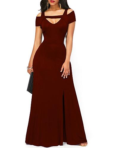 hesapli Maksi Elbiseler-Kadın's Temel Kılıf Elbise - Solid, Bölünmüş Maksi
