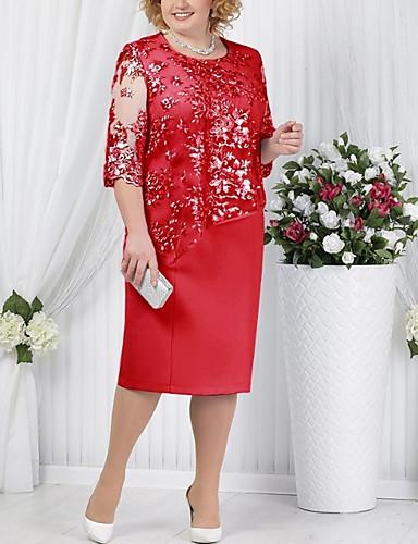 povoljno Kolekcija u plus veličini-Žene Majica Haljina - Čipka Midi