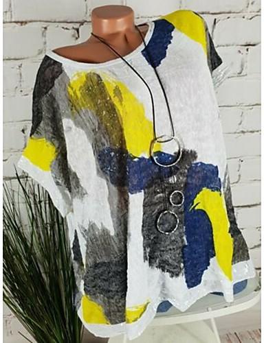 billige Topper til damer-Løstsittende Store størrelser Skjorte Dame - Grafisk / Tribal, Paljetter / Lapper / Trykt mønster Grunnleggende Hvit
