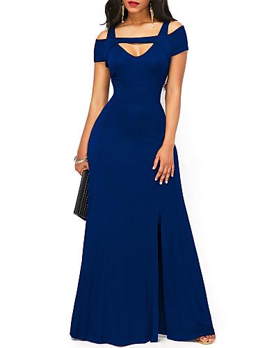 billige Blå kjoler-Dame Grunnleggende Skjede Kjole - Ensfarget, Delt Maksi