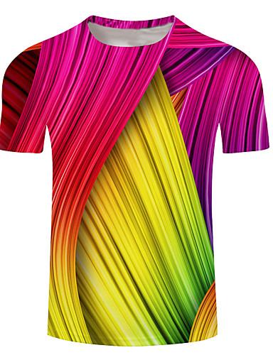 voordelige Herenbovenkleding-Heren Print T-shirt Geometrisch / 3D / Regenboog Geel