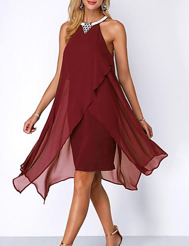 preiswerte Kleider für besondere Anlässe-A-Linie Halter Asymmetrisch Chiffon Kleid mit Applikationen durch LAN TING Express