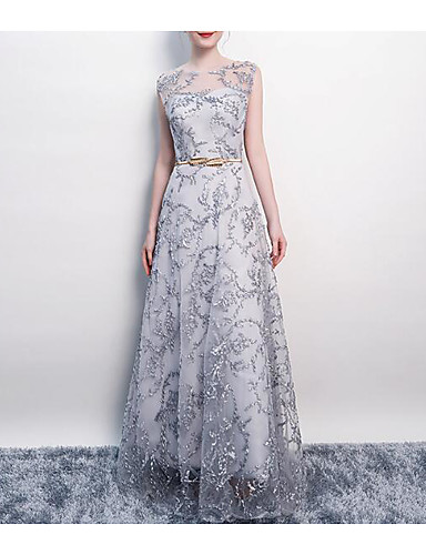 a9c8e22667569 A-Line Jewel Neck Floor Length Tulle Dress with Appliques / Sash / Ribbon by