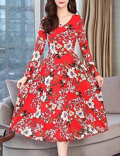 8ac1ac1e4d1 Γυναικεία Κομψό στυλ street Εκλεπτυσμένο Σε γραμμή Α Swing Φόρεμα - Φλοράλ  Καρό Μίντι