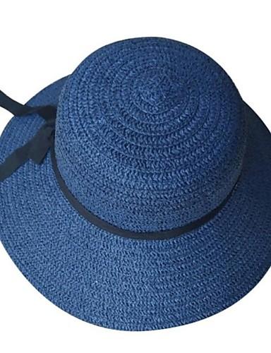 abordables Accessoires Femme-Femme Paille Basique Chapeau de Paille Chapeau de soleil Couleur Pleine Bleu Beige Kaki Eté Automne