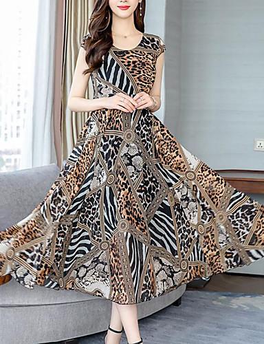 e29f67106c29 Γυναικεία Κομψό στυλ street Εκλεπτυσμένο Σε γραμμή Α Swing Φόρεμα - Λεοπάρ  Καρό Μακρύ