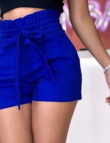 abordables Pantalons Femme-Femme Basique Grandes Tailles Short Pantalon - Couleur Pleine Noeud / A Volants Lin Bleu Rouge Jaune XXXL XXXXL XXXXXL / Taille haute