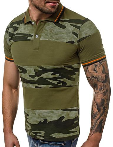 voordelige Herenpolo's-Heren Patchwork / Print Polo Katoen Kleurenblok / camouflage Overhemdkraag Slank Grijs