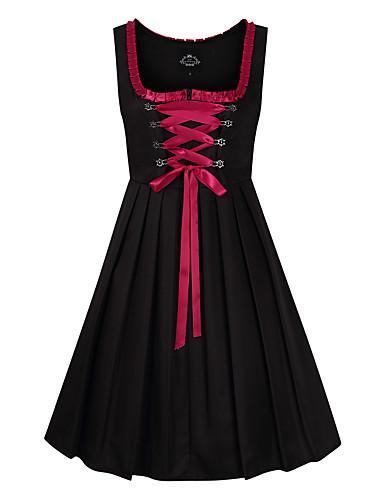 Kasım Festivali üstü dar altı geniş elbise Trachtenkleider Kadın's Elbise Bavyera Kostüm Siyah
