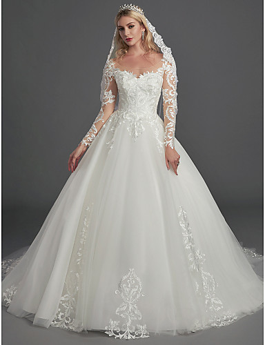 cd1d3b857f Ball Gown Illusion Neck Chapel Train Lace / Tulle Made-To-Measure Wedding  Dresses with Appliques / Buttons by LAN TING BRIDE® 7012566 2019 – $549.99