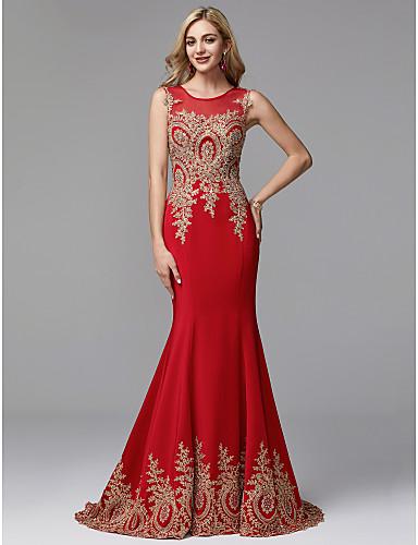 990391af9684 Χαμηλού Κόστους Φορέματα Χορού Αποφοίτησης-Τρομπέτα   Γοργόνα Με Κόσμημα  Μακρύ Spandex   Τούλι Χοροεσπερίδα
