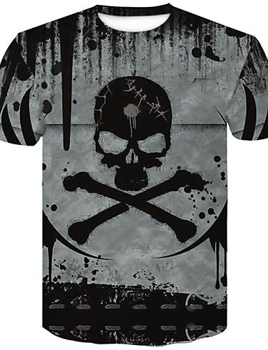 abordables T-shirts & Débardeurs Homme-Tee-shirt Grandes Tailles Homme, 3D / Crânes - Coton Col Arrondi Mince Gris XXL
