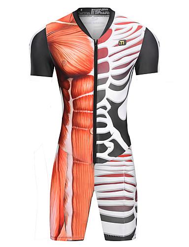 cheap Cycling Clothing-Malciklo Men's Women's Short Sleeve Triathlon Tri Suit - Orange Skeleton Bike UV Resistant Breathable Moisture Wicking Quick Dry Reflective Strips Sports Herringbone Triathlon Clothing Apparel
