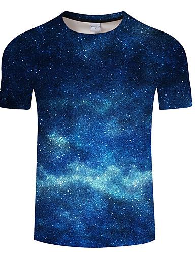 voordelige Herenbovenkleding-Heren Print T-shirt Heelal / 3D blauw