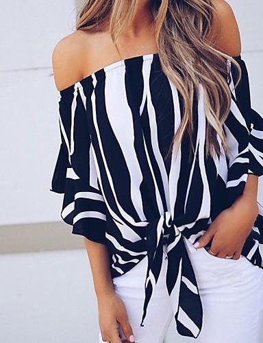 abordables Camisas y Camisetas para Mujer-Mujer Básico / Chic de Calle Acordonado Blusa A Rayas Negro L