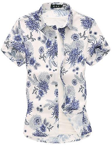 voordelige Herenoverhemden-Heren Standaard Overhemd Bloemen blauw XXXXL