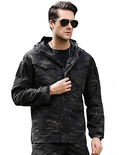 cheap Softshell, Fleece & Hiking Jackets-Men's Camo Hiking Jacket Outdoor Autumn / Fall Winter Windproof Breathable Comfortable Jacket Cotton Elastane Single Slider Climbing Camping / Hiking / Caving Traveling Black / Green / Grey