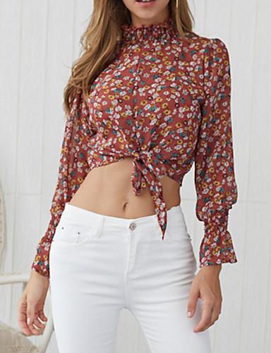 billige Dametopper-Skjorte Dame - Ensfarget / Geometrisk / Leopard, Lapper Grunnleggende Svart