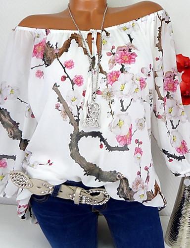 billige Dametopper-V-hals T-skjorte Dame - Blomstret / 3D, Blondér / Lapper / Trykt mønster Hvit XXXL
