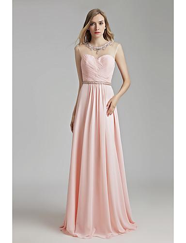 b7ef86cc Sheath / Column Jewel Neck Floor Length Chiffon See Through Formal Evening  Dress with Beading by