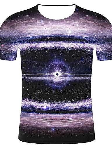 cheap Men's Clothing-Men's T-shirt - Geometric / 3D / Graphic Print Black XXL