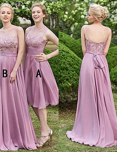 cheap Bridesmaid Dresses-A-Line Illusion Neck Sweep / Brush Train Chiffon / Lace Bridesmaid Dress with Lace by JUDY&JULIA
