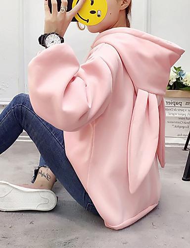 ราคาถูก เสื้อผู้หญิง-สำหรับผู้หญิง ไม่เป็นทางการ / สไตล์น่ารัก Hoodie สีพื้น / การ์ตูน