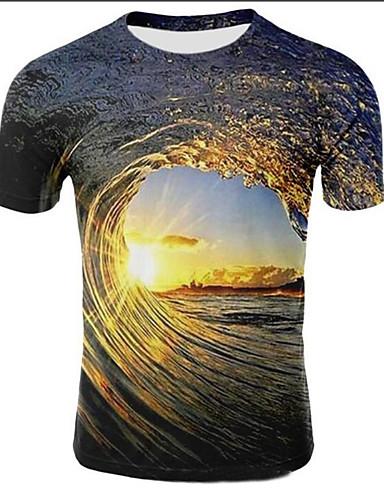 voordelige Heren T-shirts & tanktops-Heren Print Grote maten - T-shirt Heelal / 3D Ronde hals Licht Bruin