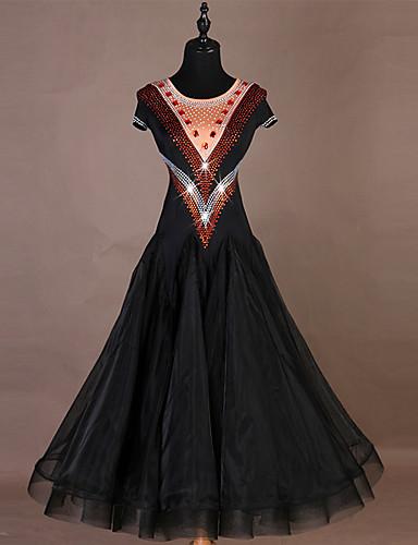 cheap Ballroom Dancewear-Ballroom Dance Dresses Women's Training Nylon / Organza / Tulle Crystals / Rhinestones Short Sleeve High Dress