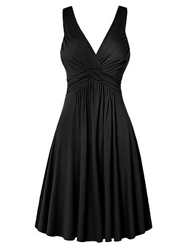 hesapli Mini Elbiseler-Kadın's Büyük Bedenler Temel Kombinezon Elbise - Solid V Yaka Mini Yüksek Bel