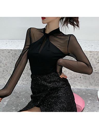 abordables Camisas y Camisetas para Mujer-Mujer Malla / Acordonado / Retazos Camisa Un Color Blanco Tamaño Único