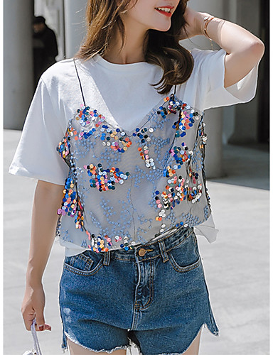 55e18f5ff635 Γυναικεία T-shirt Μονόχρωμο   Πουά Πούλιες   Patchwork Θαλασσί L