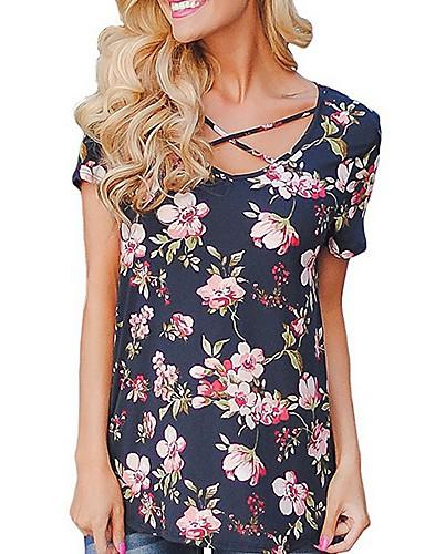 billige Dametopper-Tynn V-hals Store størrelser T-skjorte Dame - Blomstret Svart