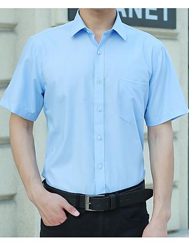 voordelige Herenoverhemden-Heren Grote maten - Overhemd Effen Slank Zwart XXXXXL