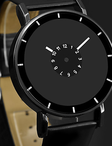 hesapli Deri-Erkek Elbise Saat Quartz Deri Siyah / Beyaz Gündelik Saatler Analog Moda Minimalist Basit izle - Beyaz Siyah Siyah / Beyaz Bir yıl Pil Ömrü / Paslanmaz Çelik