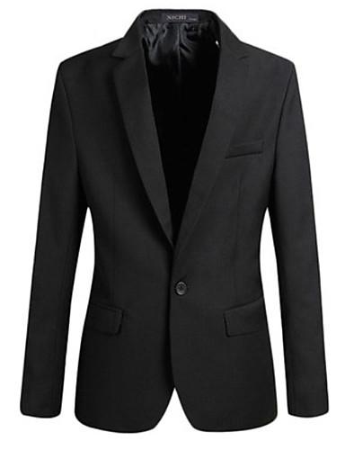 billige Herreblazere og dresser-Herre Blazer, Ensfarget Skjortekrage Polyester Svart / Grå / Vin XXL / XXXL / XXXXL