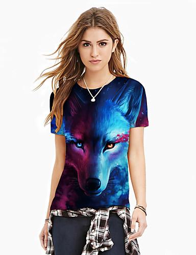 billige Dametopper-T-skjorte Dame - Fargeblokk / 3D / Dyr, Trykt mønster Gatemote / overdrevet Blå