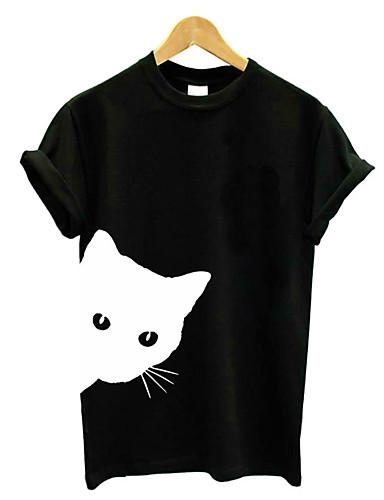 hesapli Tişört-Kadın's Düşük Omuz Salaş - Tişört Şalter / Desen, Solid Beyaz