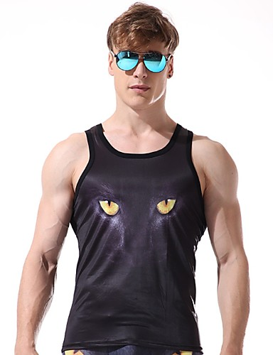 abordables Camisetas y Tops de Hombre-Hombre Tank Tops Animal Negro L