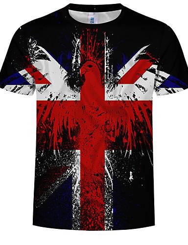 cheap Men's Tees & Tank Tops-Men's EU / US Size Slim T-shirt - 3D Print Round Neck Rainbow XL