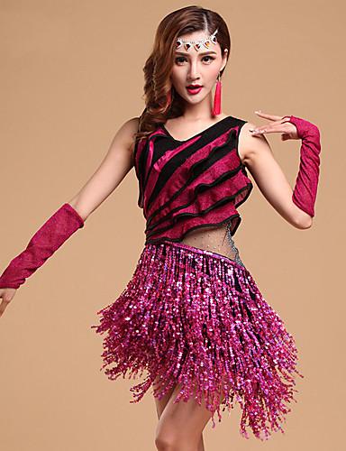 ราคาถูก ชุดเต้นรำลาติน-ชุดเต้นละติน Outfits สำหรับผู้หญิง การฝึกอบรม / Performance Modal แสงระยิบระยับ / ระบาย Cascading / พู่ เสื้อไม่มีแขน ชุดเดรส / ถุงมือ